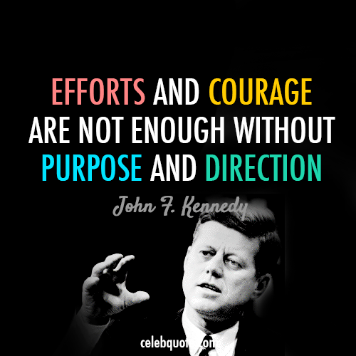 John F. Kennedy Quote (About success purpose goal efforts direction courage)
