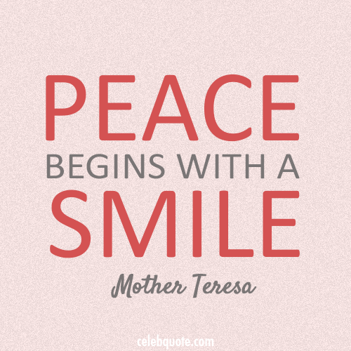 Mother Teresa Quote (About smile peace)