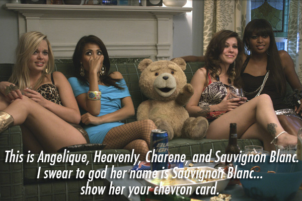 Ted (2012) Quote (About sofa Sauvignon Blanc Lori hookers girls chevron card)