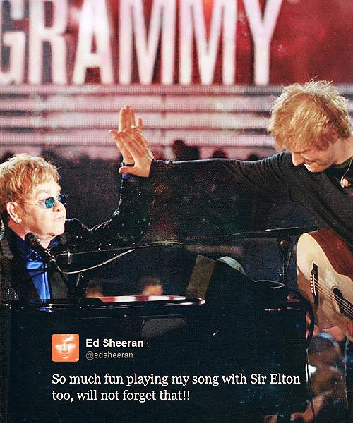 Ed Sheeran Quote (About performance grammy awards Elton John)