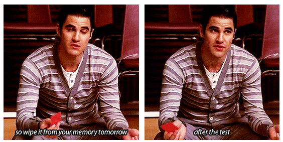 Glee Quote (About wipe test memory)