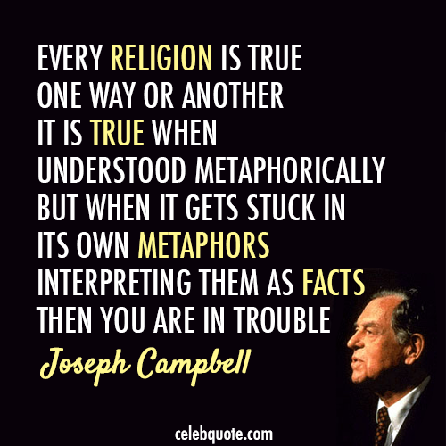 Joseph Campbell Quote (About religion metaphor god belief antheist)