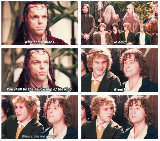 The Lord of the Rings: The Fellowship of the Ring (2001) Quote (About nine companions funny fellowship)