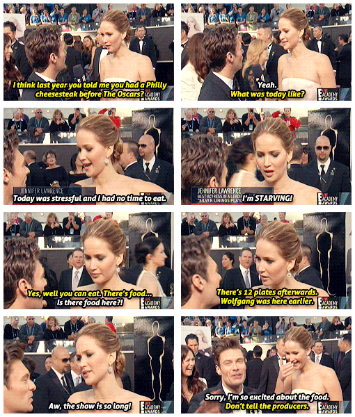 Oscars 2013 (85th Academy Awards) Quote (About red carpet interview hungry food)